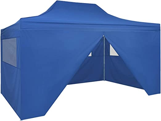 vidaXL Carpa Jardín Plegable Pop-up 4 Paredes Acero Tela Azul 3x4 ...