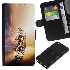 EJOY---Tirón de la caja Cartera de cuero con ranuras para tarjetas / Apple Iphone 6 / --CICLISTA bicicleta del corredor