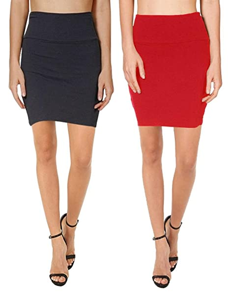 55f35997df759 Bodycon Above Knee Mini Pencil Skirt for Women Short Cotton Stretchy ...