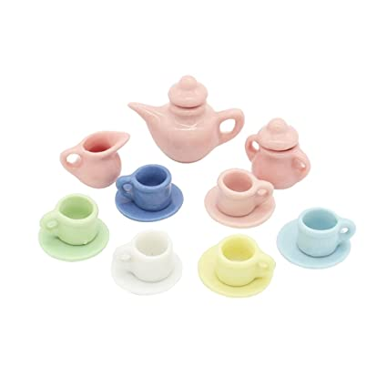18f3fddbb5b40 Image Unavailable. Image not available for. Color  MonkeyJack 1 12 Scale Dolls  House Miniatures Dining Ware 9PCS Colorful Tea Set Tableware