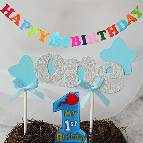 iMagitek Baby Boys 1st Birthday Party Supplies - One Happy 1st Birthday Hanging Banner - One Boys My 1st Birthday Candle - One Cupcake Decoration (My First Birthday Cake)