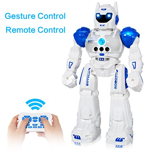 MIBOTE Remote Control Robot Toys for Kids, Smart Gesture Control & RC Remote Control Rechargeable Programmable Robot for Boys Girls...