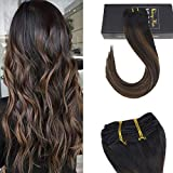 Sunny 16inch 7pcs 120gram Balayage Clip in Hair Extensions 100% Remy Human Hair Extensions Natural Black Fading to Medium Brown Highlight Black Seamless Clip Extensions