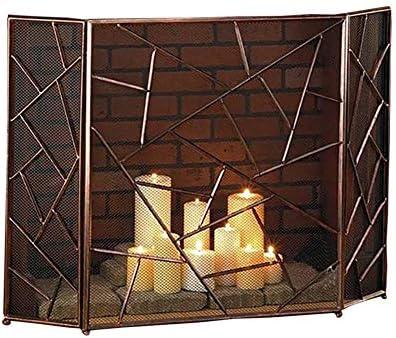 暖炉スクリーン 3パネル暖炉スパークガード、ステンレススチールファイングリッドを備えたパウダーコーティングされた鉄防火スクリーン、暖炉およびストーブ用ファイアガード