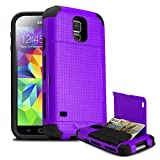 Galaxy S5 Case, SMUGGLER Pocket Stash Case PURPLE for Samsung Galaxy S5 with Dual Layer and TPU Shock Absorb Designed Cushion and Wallet Stand with Pocket for Samsung Galaxy S5