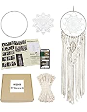 DIY Macrame Cord Kit Handmade Cotton Macrame Kits for Adults Beginners, Includes Dream Catcher Hoop, Macrame Cord, DIY Dream Catcher Kit Macrame Wall Hanging Supplies Decor for Bedroom