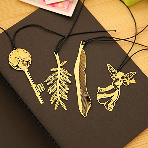 Olpchee Set of 4 Ultra-fine Hollow Classic Metal Mini Bookmarks Golden (Feather+Angel+Key+Maple Leaf)