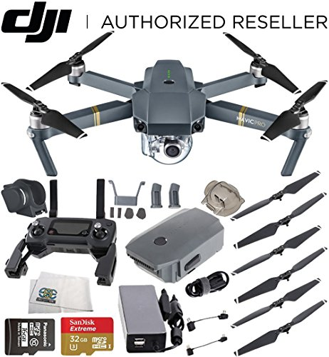 DJI Mavic Pro Quadcopter Drone with Manufacturer Accessories + Sandisk 32GB microSDHC Memory Card + Microfiber Cleaning Cloth by SSE