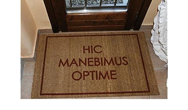 Felpudo diseño Hic manebimus Optime cm. 100 x 50 Coco Natural secador Cepillo Suciedad: Amazon.es: Hogar