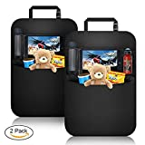 KIPIDA Car Back Seat Organizer Protector 2 Pack, Waterproof Kick Mats,Clear Touch Screen Tablet Holder Large Storage Pockets-【Black】