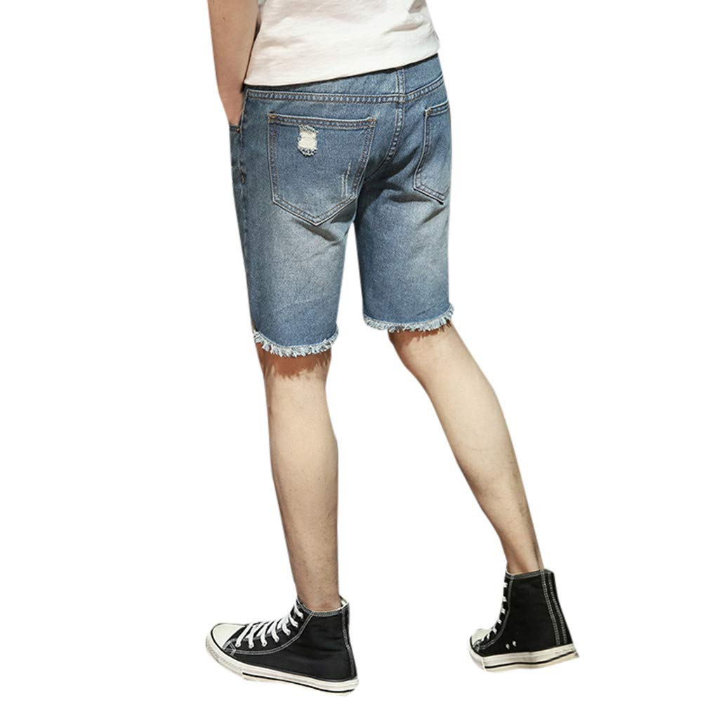 Sports Pants Gym Cargo Beach Shorts Men Loose Casual Broken Hole Fold Varus Pattern Features Foot Mouth Denim Shorts