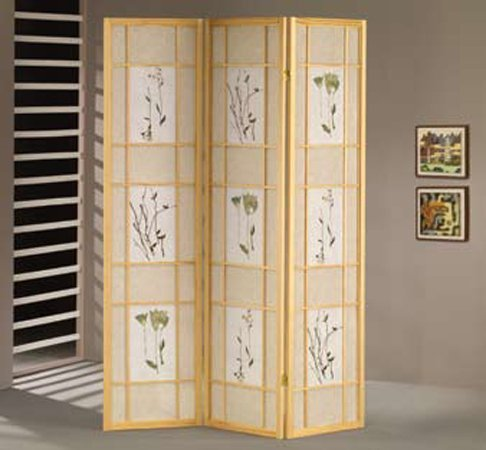 H-M SHOP 3 Panel Shoji Screen - Natural (Plant)