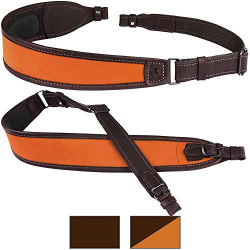 BronzeDog Leather Rifle Sling Waterproof Shoulder Strap Hunting Accessories Soft Padded Neoprene Shotgun Belt (Orange Top)