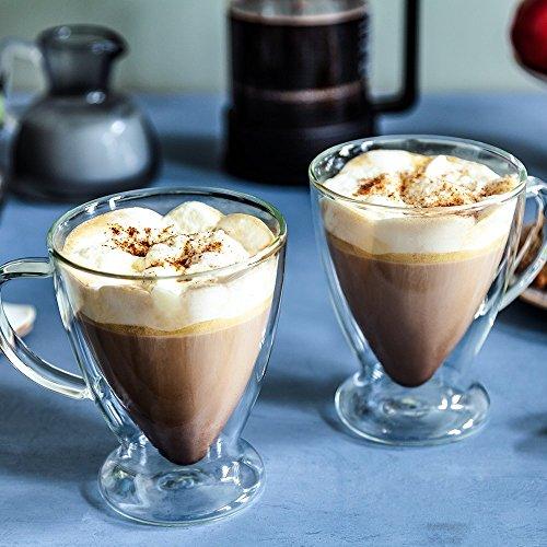 JoyJolt Declan Irish Glass Coffee Cups Double Wall Insulated Mugs Set of 2 Latte Glasses, 15-Ounces. by JoyJolt (Image #4)