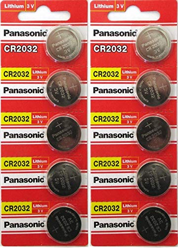 [ 10 pcs ] -- Panasonic Cr2032 3v Lithium Coin Cell Battery Dl2032 Ecr2032 ( Pack of 10 ()