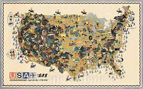 (Historic Map | USA - SAS : Scandinavian Airlines System 1961 | Vintage Wall Art | 70in x 44in)