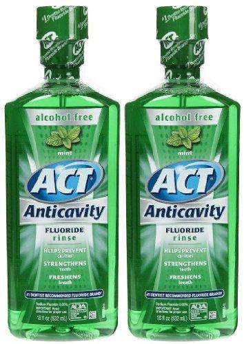 Act Alcohol Free Anticavity Fluoride Rinse  Mint   18 Oz   2 Pk