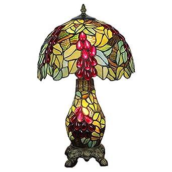 Chevet Vitrail Déco Table Art 2 Style Tiffany Salon De Design Lampes Lampe Raisin PiukXZO