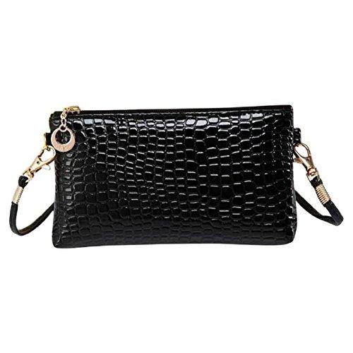 Lenfesh Shoulder Leather Clutch Women Black Messenger Crocodile Handbag Crossbody Pu Fashion 7Hf7n84Wr