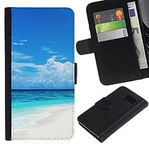 // PHONE CASE GIFT // Moda Estuche Funda de Cuero Billetera Tarjeta de crédito dinero bolsa Cubierta de proteccion Caso Sony Xperia Z3 Compact / Caribbean White Sand Paradise Beach /