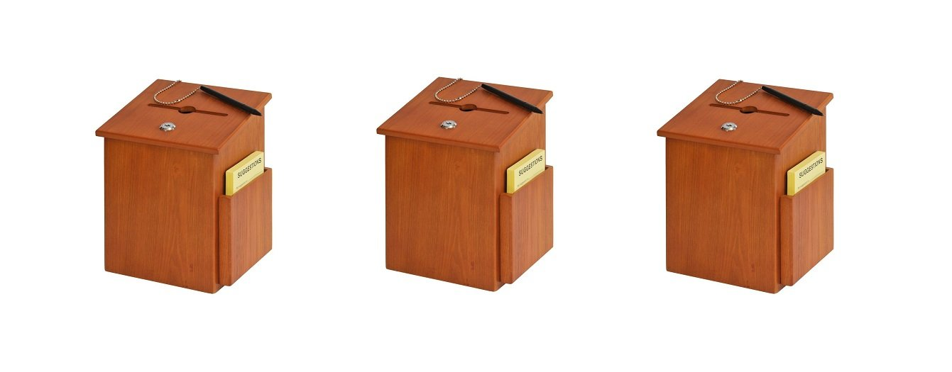 Buddy Products Wood Suggestion Box, 7.25 x 10 x 7.5 Inches, Medium Oak (5622-11) (Pack of 3)