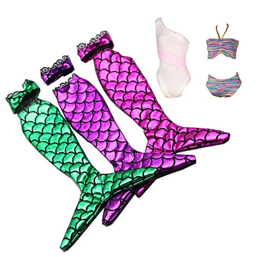 Tanosy 3 Sets Doll Mermaid Swimsuits +2 Bathing Suits Summer Bikini Swimwear Doll Beach Bikini Bathing Clothes for 11.5