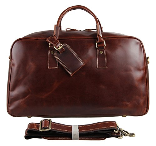 Genda 2Archer Mens Leather Travel Oversize Duffel Overnight Weekend Bag Tote Luggage (Wine Red) by Genda 2Archer