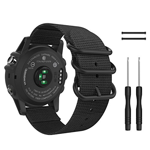 MoKo Band for Garmin Fenix 3 Watch, Fine Woven Nylon Adjustable Replacement Strap with Connecting Rod for Fenix 3/Fenix 3 HR/Fenix 5X/5X Plus/Descent mk1, Double Buckle Ring, Black by MoKo