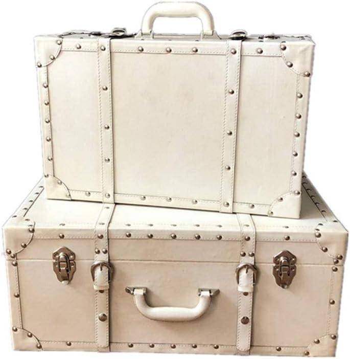 Caja De Almacenamiento De La Vendimia Decorativa Vieja Caja De Madera De La PU De Cuero Complejo Conjunto De 2 Vinos Tesoro Maleta De Almacenamiento Organizador De La Joyería En El Pecho Maletas