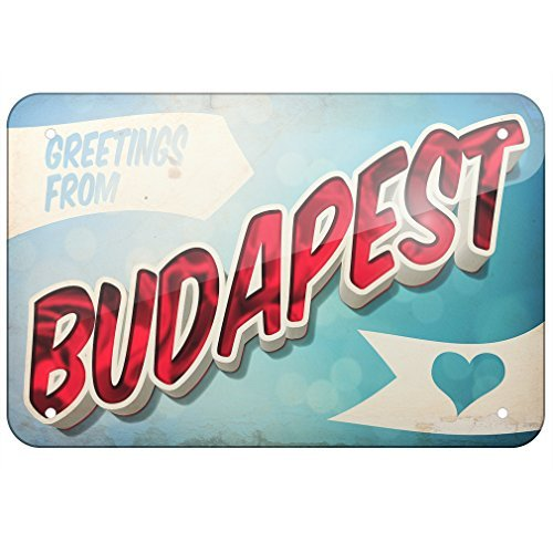 ACOVE Aluminum Sign Greetings from Budapest, Vintage Postcard 8X12 Inch Decorative Tin Signs