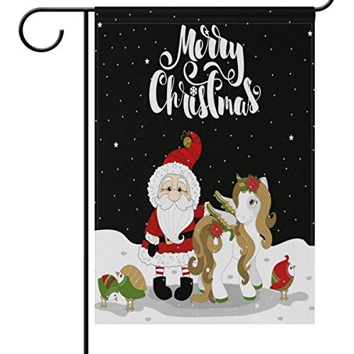 Mesllings Winter Garden Flag 12 x 18 Double Sided, Xmas Pony Unicorn Santa Claus Bird Snowflakes Welcome Holiday Yard Outdoor House Flags Banner Party Home Decor Christmas Decorations