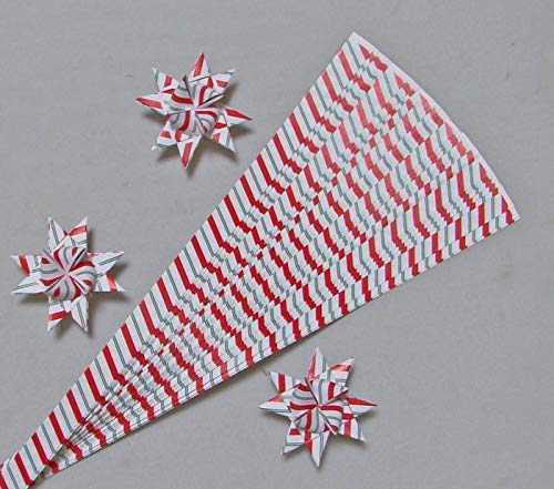 Paper Strips for Weaving Projects. Paper Strips for Moravian Stars, German Stars and Frobel Stars. Candy Cane Pattern. 50 strips per pack. 1/2 inch x 19 inch in Size