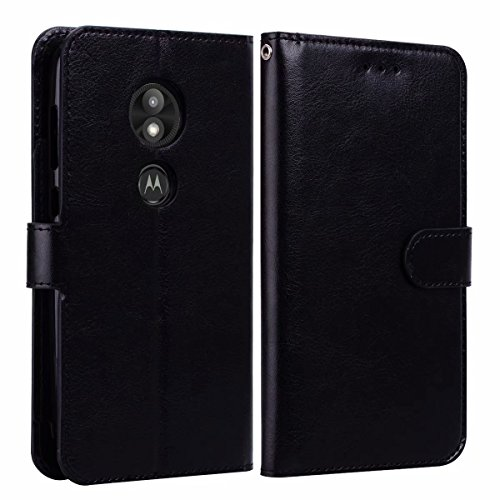 Luckiefind Case Compatible with Motorola Moto E5 Play/Moto E5 Cruise, Premium PU Leather Flip Wallet Credit Card Cover Case Accessories (Wallet Black) ()