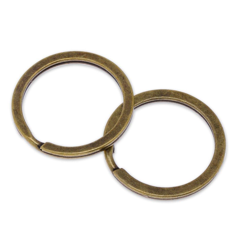 アイアンラウンドキーリングスプリットリング円、フラットキーチェーン、カーキー、組織販売50個/ロット B072Q9LVC7 ブロンズ(antique bronze)