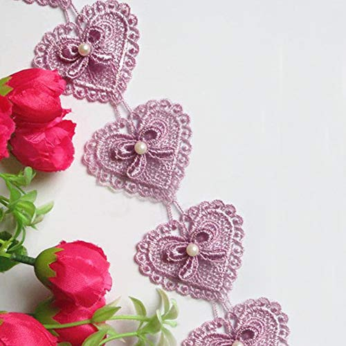 3 Meters Heart Bow Pearl Lace Edge Trim Ribbon 5.2 cm Width Vintage Style Purple Edging Trimmings Fabric Embroidered Applique Sewing Craft Wedding Dress Embellishment DIY Cards Hats Clothes Embroidery
