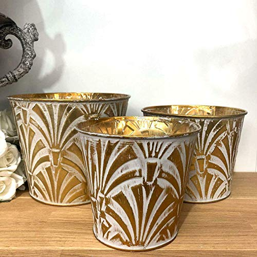 Homes on Trend Vintage Style Gold Metal Plant Flower Pot Herb Planter Wedding Table Centrepiece- Medium (Flower Vintage Centrepieces)
