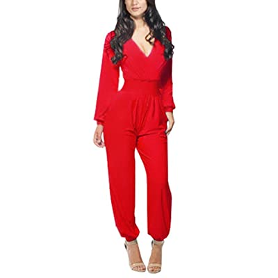 PianPian Fashion Lady's Long Sleeve V Neck Romper Jumpsuit Multi-color Pick Red
