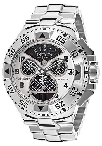 Retrograde Stainless Steel Case - Invicta Men's 'Excursion' Swiss Quartz Stainless Steel Casual Watch, Color:Silver-Toned (Model: 17468)