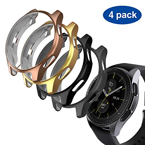 GeeRic Case Compatible with Samsung Galaxy Watch 46mm/Gear S3, 4 Pack TPU Slim Plated Case Edge-Around Shock-Proof Cover (Black/Space Gray/Gold/Rose Gold)