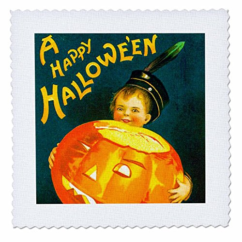 3dRose Scenes from the Past Ephemera - A Happy Halloween Vintage Holiday Postcard Early 1900s - 22x22 inch quilt square (qs_269790_9)