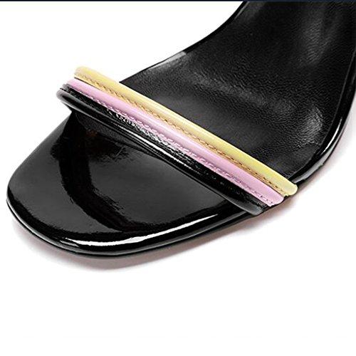 Negro Verano de Color Alto UK4 de tacón Femeninos tacón Zapatos Tamaño 5 tacón Sandalias Abiertos Zapatos de Femeninos MUMA Zapatos de Alto EU37 Negro CN37 5 Uqwa5