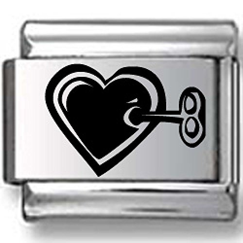 Heart and Skeleton Key Black Laser Italian Charm