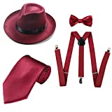ZeroShop 1920s Mens Costume Accessory Set - Manhattan Fedora Hat, Suspenders Y-Back Elastic Trouser Braces,Pre Tied Bow Tie,Gangster Tie (Onesize, Burgundy)