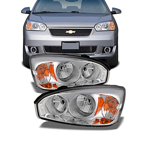For Chevy Malibu OE Replacement Chrome Bezel Headlights Driver/Passenger Head Lamps Pair New ()