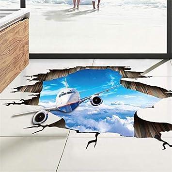 3D Blue Sky Clouds Avión Pegatinas de Pared Para Niños Habitación ...
