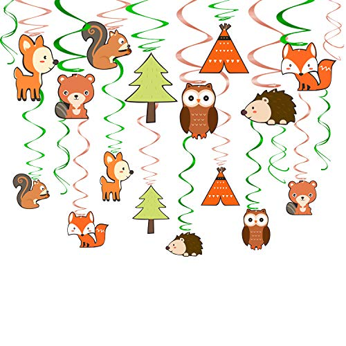 Yaaaaasss! Woodland Hanging Swirl Decorations 30 Ct Woodland Creatures Camp Themed Party Supplies Forest Friends Animal Value Pack Foil Swirl Decor ()