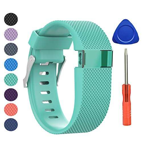 BeneStellar Newest Fitbit Charge HR Band, Silicone Replacement Small Large Band Bracelet Strap for Fitbit Charge HR Wireless Activity Wristband (Large(6.2-7.6), Teal 1-Pack)