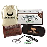 BEARDCLASS Beard Brush and Comb - 100% Wooden Boar Bristle Beard Brush Kit Set with Curve Contour for Maximum Grip - Bonus Items: Mustache Comb and Scissors Set - Beard Care Grooming Kit