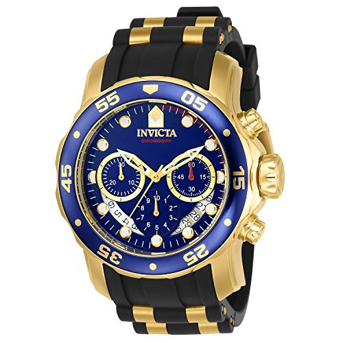 Crystal Type: Flame FusionThe super cool, black and gold Invicta Men's Pro Diver Collection Chronograph Blue Dial Black Polyurethane Watch is a high-performance sports watch for the modern man. Start with a deep blue dial with gold-tone dot i...