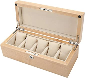 Caja De Reloj Madera 5 Cuadrícula Organizador De Relojes Joyas Cerradura De Metal Caja para Relojes Marrón Blanco: Amazon.es: Relojes